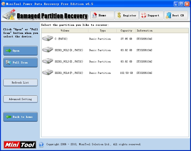 MiniTool Power Data Recovery Free Edition screenshot: data recovery, file recovery, partition recovery, data lost
