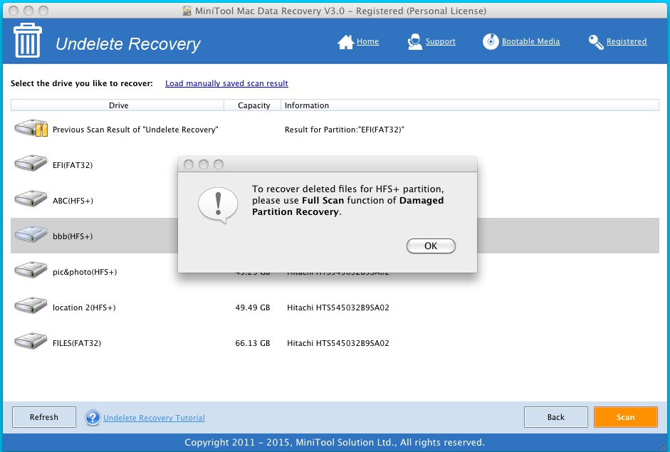 To recover deleted files for HFS+ partition