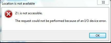 Drive is not accessible. The request could not be performed because of an IO device error