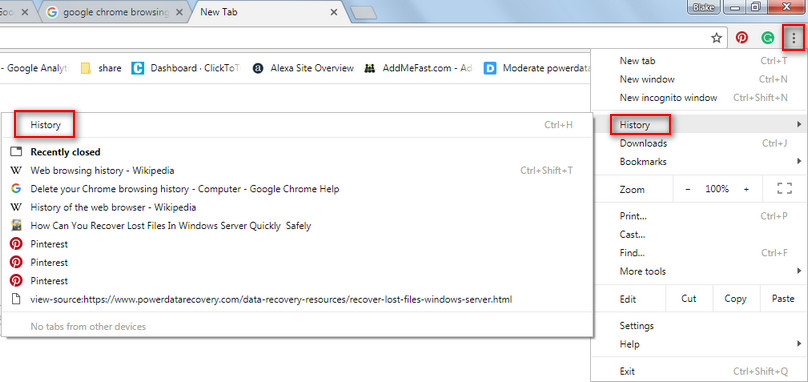 Recover history files Google Chrome 1