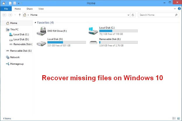 Recover missing files on Windows 10 1
