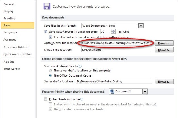 Recover deleted Word document 12
