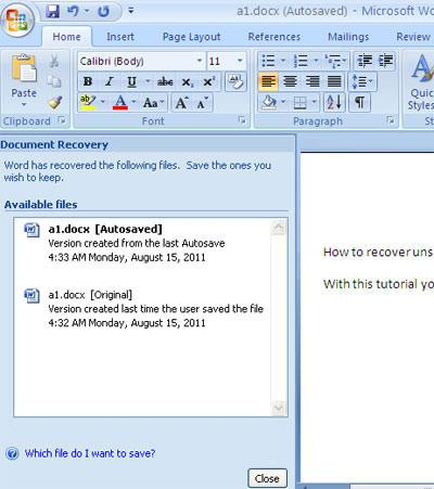 Recover deleted Word document 10