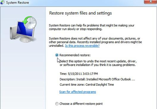 Restore document after system clean 5