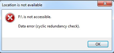 Drive is not accessible, data error (cyclic redundancy check)