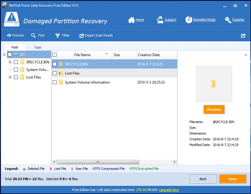 recover damaged partition data
