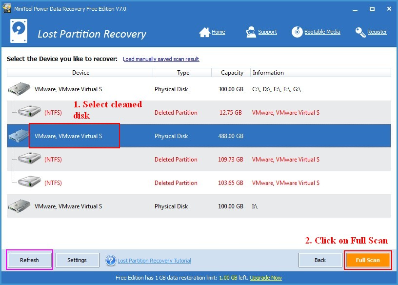 Recover data lost by DiskPart clean 3