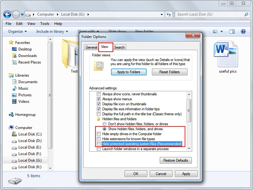 Recover files hidden by a virus 3